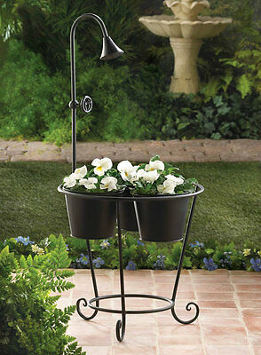 Black Garden/Patio Three-Pot Metal Planter with Scrolled Feet & Faucet Detail