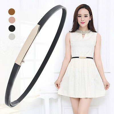 Women's Leather Narrow Belt Gold Smooth Buckle Skinny Waist Belt for Pants Dress
