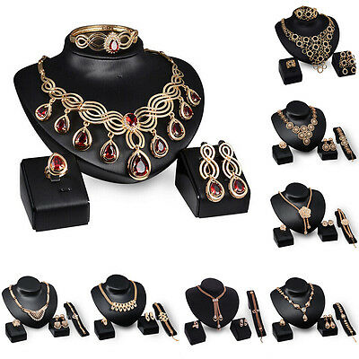 Fashion New Women Crystal Gold Bridal Necklace Earring Ring Bracelet Jewelry Set