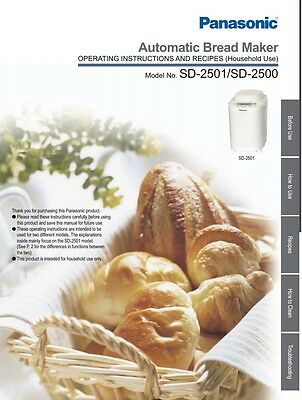 Panasonic Automatic Bread Maker Instruction Manual Book for SD-2500 / SD-2501