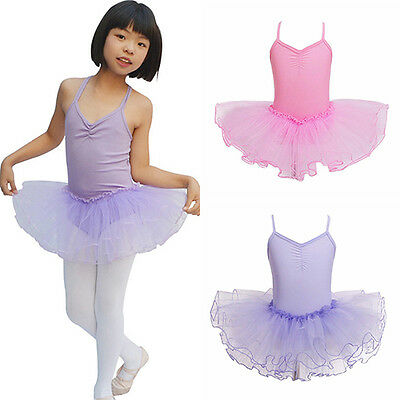 Kids Girls Leotard Dancewear Princess Tutu Ballet Dance Dress Delightful