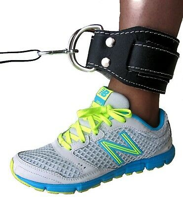 INFINITY Gym Ankle Strap BLACK Leather Weight Lifting Ankle Cable Attachment