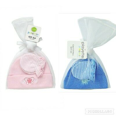 Playette Preemie Premie Baby BEANIE / CAP and MITTEN GIFT SET Boy Girl Pink Blue