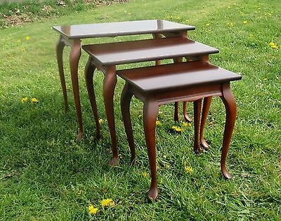 Vintage Wooden Nesting Side Tables Danish Modern style Mid Century 3 pieces