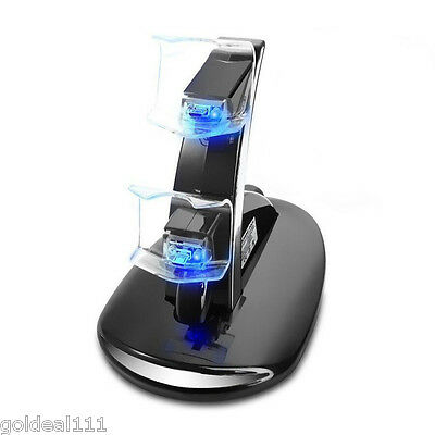 PlayStation PS4 Controller LED Dual Charger Dock Station USB Rapid Charge Stand