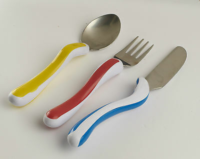 KURA CARE CHILDRENS CUTLERY - Easy grip cutlery - Eating aids Knife Fork Spoon