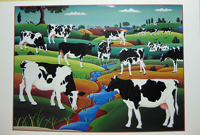 Raul Del Rio Cows in field Art Print Poster/Holstein Dairy 24 x 36 CYBER SALE