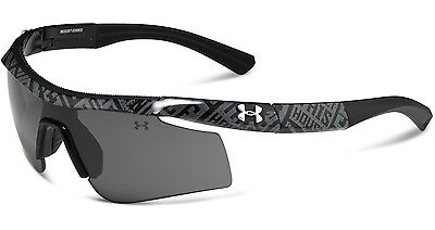 UNDER ARMOUR DYNAMO SHINY BLACK PATTERN w/GRAY LENSES YOUTH SPORT SUNGLASSES