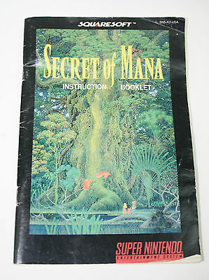 Secret of Mana Super Nintendo Manual SNES (Squaresoft)