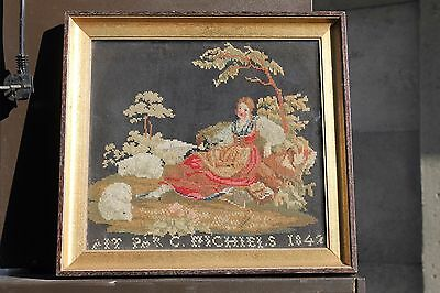 1842 antique beadwork / needlepoint dated and named Flemish, young woman