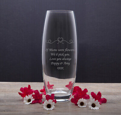 Personalised Engraved Heart & Swirls Glass Bullet Vase Gift Mothers Day For Her