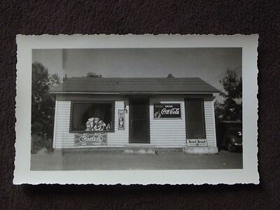 SMALL GENERAL STORE WITH COCA COLA & BOND BREAD SIGN IN FRONT Vintage PHOTO