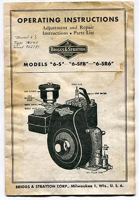 Briggs & Stratton Motor Operating Maintenance Manual Model 6-S 6-Sfb 6-Sr6 Parts