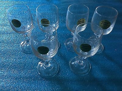 Set of 6 J. G. Durand Cristal D'Arques Crystal Shot Wine Glasses