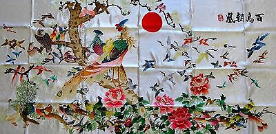 """[#25] Handwoven Silk Chinese Embroidery - 100 Birds (29"""" x 60"""")"""