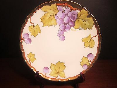 P.T. Bavaria Germany Plate with Grapes Gold Trim Signed by Artist Carion