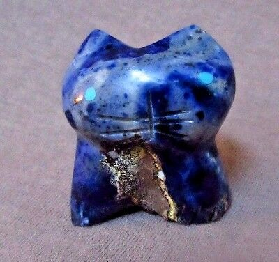 Native Zuni Adorable Sodalite Cat Fetish by Robert Weahkee - C1209
