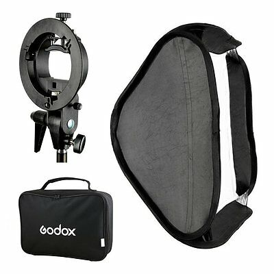 Godox 80x80 Foldable Softbox + Bracket S Style Mount Holder for Flash  Bowens