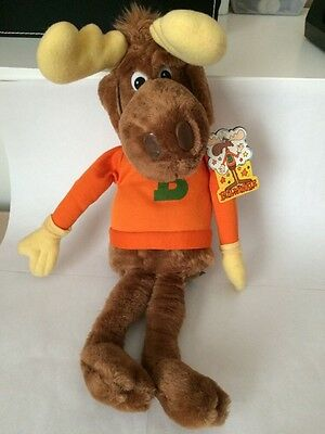 "Rocky & BULLWINKLE Moose 17"" Plush Stuffed Toy - with Tags - Vintage 1982"