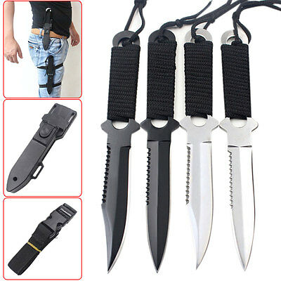 Useful Stainless Steel Survival Fixed Blade Knife Black Cord-Wrapped Handle