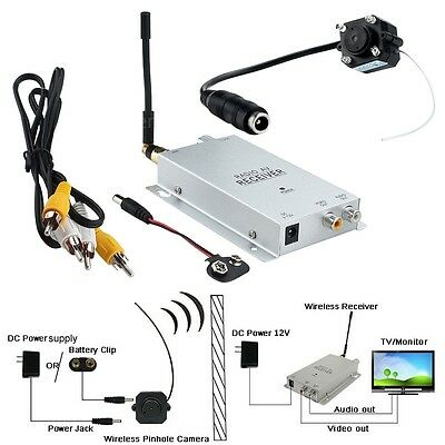 Long Distance 1.2GHZ Wireless A/V Audio Camera W/ Transmitter Receiver Set Tool