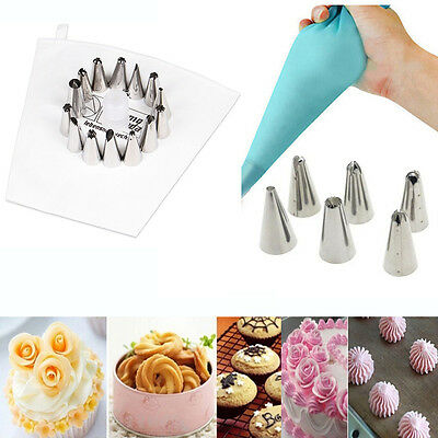 6/14Pc Cake Cookie Nozzles and Cotton/Silicone Icing Piping Bag Set Cake Tool
