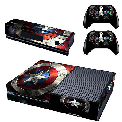 Vinyl Skin Sticker for Xbox One Kinect Console Controller Captain America