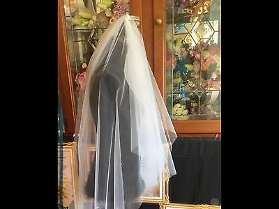 Veil Ivory Scattered Crystal 2 Tier Raw Edge Wedding Comb Bride Hair Accessory