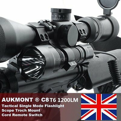 CREE 1200LM Tactical Scope Mount Flashlight Lamp Hunting Gun Air Rifle Torch KIT