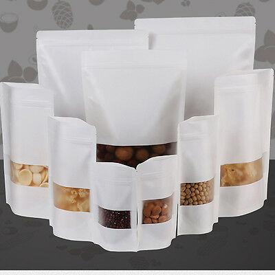 Thick White STAND UP KRAFT PAPER POUCH + Window /HEAT SEAL /ZIP LOCK FOOD GRADE