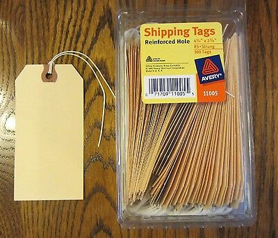 "100 Avery Manilla #5 Pre Strung Blank Shipping Tags 4 3/4"" By 2 3/8"" Scrapbook"