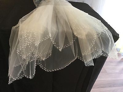 Veil Pearl Edge Large Scallop 2 Tier Wedding Bridal Ivory Elbow Hair Accessory