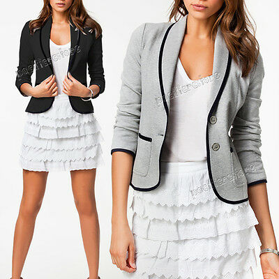 Womens Ladies Stylish Casual Slim Suit Jacket Business Blazer Top Outwear Coat