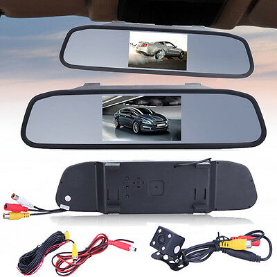 "4.3"" TFT LCD  Monitor Rear View Mirror w/ Rearview Reverse Parking Camera Night"