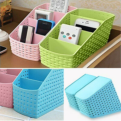 Desk 4 Grids Desktop Office Storage Box Case Cosmetic Organizer Holder Honest