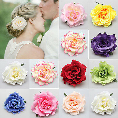 Bridal Rose Flower Hairpin Brooch Wedding Bridesmaid Party Accessory Hair Clip W