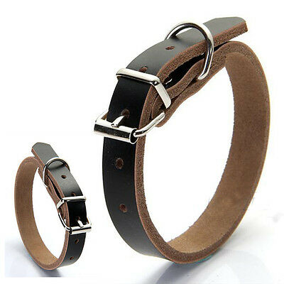 Adjustable Real Cow Leather Pet Dog Cat Puppy Collar Neck Buckle 2016