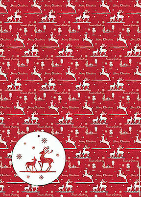 Christmas Reindeers Xmas Gift Wrap Pack 6 Sheets 6 Tags Superior Wrapping Paper