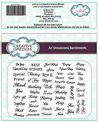 All Occasions Sentiments Set of Unmounted Rubber Stamps Creative Expressions A5