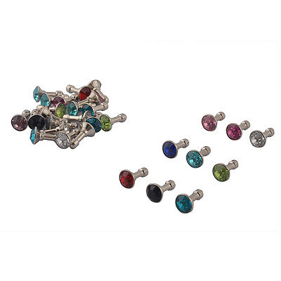 Faux Rhinestone Decor Earphone Jack Anti Dust Ear Cap Assorted Color 30pcs