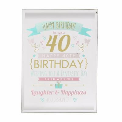 40th Birthday Gift - Glass Sentiment Plaque New Boxed FG50140
