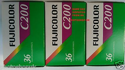 3x FUJI FUJICOLOR C200 35mm 36exp CHEAP COLOUR PRINT CAMERA FILM -1st CLASS POST