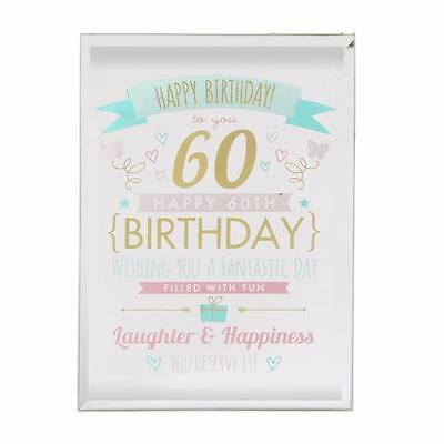 60th Birthday Gift - Glass Sentiment Plaque New Boxed FG50160