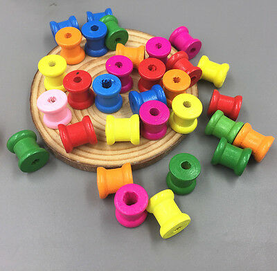 50pcs Wooden Sewing Tools Empty Thread Spools Mix color Sewing Notions 13mmx14mm