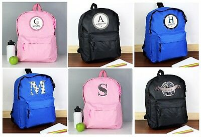 Personalised Girls Boys Childrens Kids Back To School Rucksack Backpack Bag