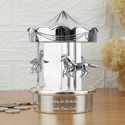 Personalised Silver Carousel Moneybox Girl Boy Baby Christening Naming Day Gift