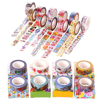 DIY Cartoon Sticky Adhesive Sticker Decor Scrapbooking Washi Paper Tape + Box