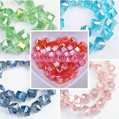 6mm 8mm 10mm Diagonal Square Faceted Crystal Glass Loose Spacer Beads Lot Colors