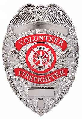 Volunteer Firefighter Badge Silver Fire Dept Shield Department Deluxe Pin-Back