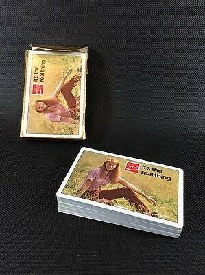 "1971 Coca-Cola ""It's The Real Thing"" Girl On Grass Playing Cards Open Mint  D"
